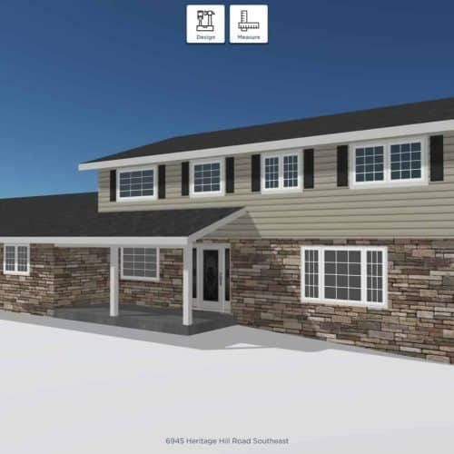 With the help of our 3D-rendering program, we can explore the visual possibilities and make the design process a breeze. With the click of a button we can change the color scheme, roofing material and color, window style, paint colors, stonework and more!