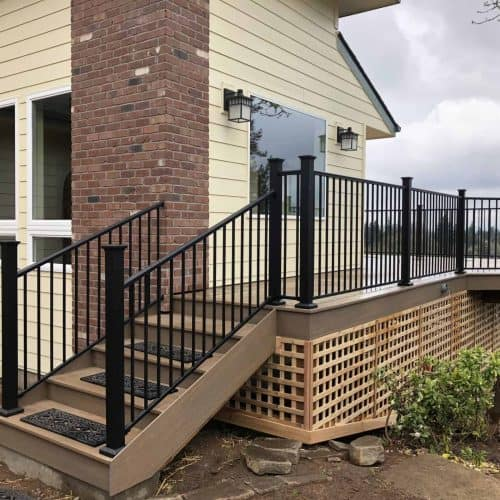Composite decking is a popular choice with a variety of railings to choose from.